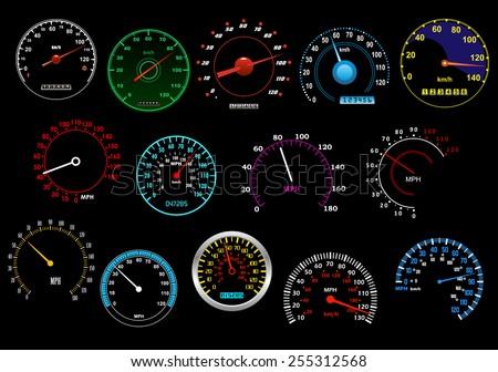 various glowing speedometers