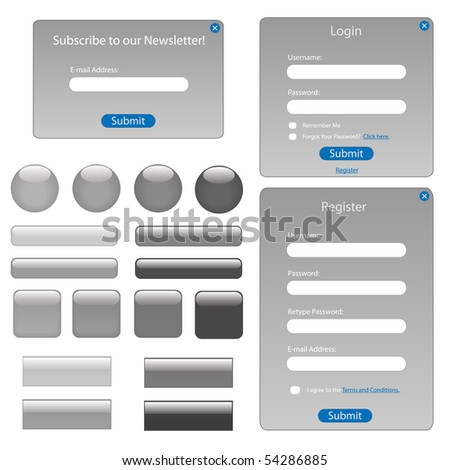 Various grey and black web forms and buttons.