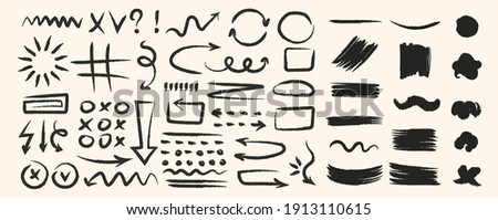 Various hand drawn arrows and shapes, black sketchy lines, curves, doodle direction pointers brush stroke style. Abstract vector set Stockfoto ©
