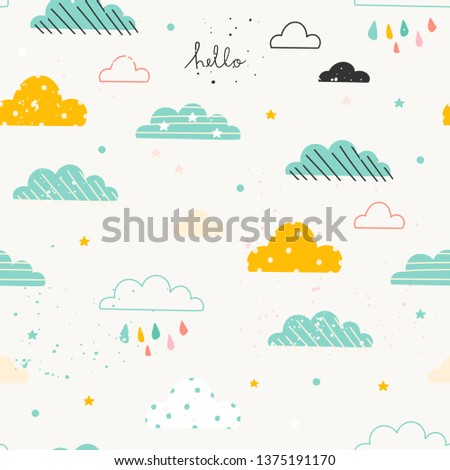 Various hand drawn clouds. Paper cut flat style. Scandinavian style. Vector seamless pattern for kids. Version for boys