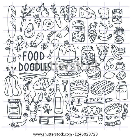 Various hand drawn food. Doodle vector set. All elements are isolated. Checked background