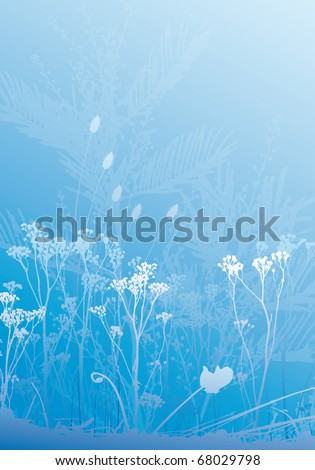Various herbs and plants silhouettes background, all in separate layers for better edit