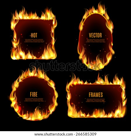 various hot fire flame frame