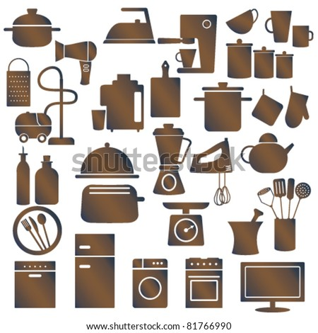 Various Household Appliances And Kitchen Utensils Stock Vector