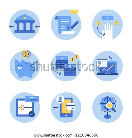 Various icons for asset management. flat design style vector graphic illustration.