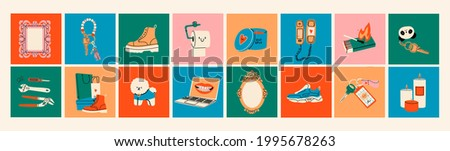 Various Icons. Logo templates. Boots, sport shoes, keychains, mirror frames, matches, tools, dog, laptop, candles, phone. Lifestyle concept. Hand drawn Vector illustrations. All elements are isolated