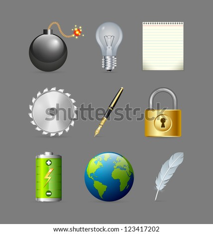 Various icons set isolated on grey background