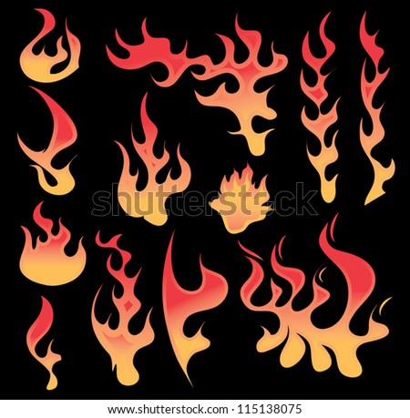 Various illustrated fiery flames