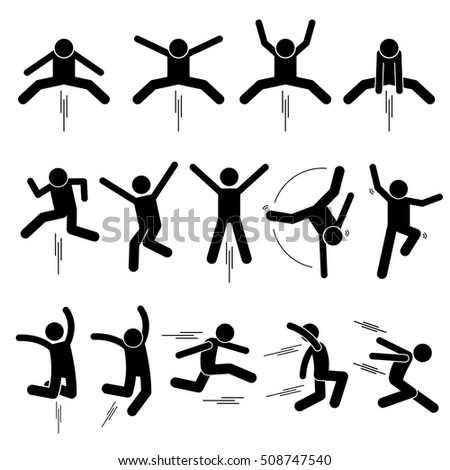 Various Jumper Human Man People Jumping Stick Figure Stickman Pictogram Icons