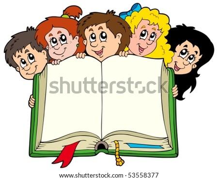 stock-vector-various-kids-holding-book-vector-illustration
