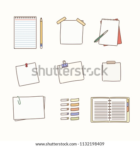 various kind of note icons hand drawn style vector design illustrations.