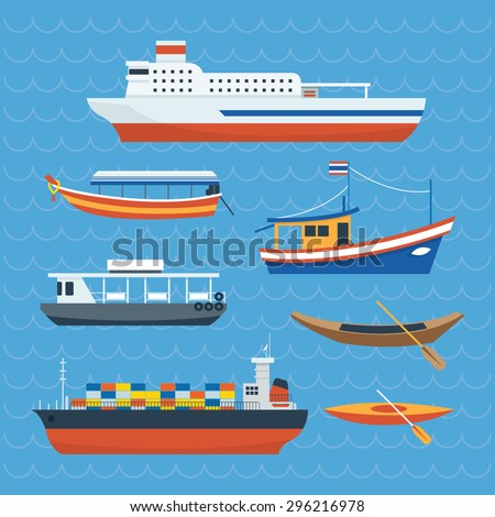 Various kind of Ship, Boat, Ferry , Side View, Transportation Concept Set