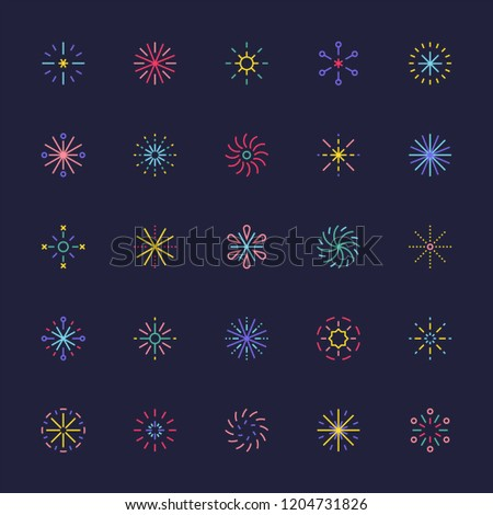 various kinds of fireworks shape. flat design style vector graphic illustration.