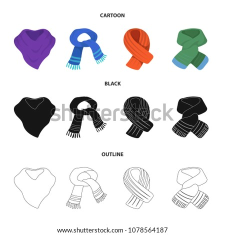 Various kinds of scarves, scarves and shawls. Scarves and shawls set collection icons in cartoon,black,outline style vector symbol stock illustration web.