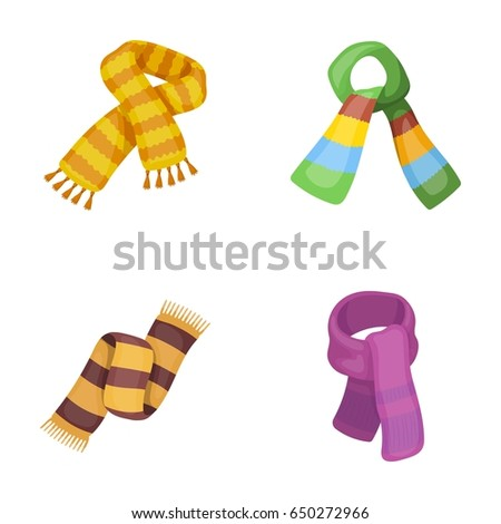 Various kinds of scarves, scarves and shawls. Scarves and shawls set collection icons in cartoon style vector symbol stock illustration web.