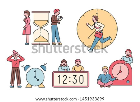 various kinds of watches and people. flat design style minimal vector illustration.