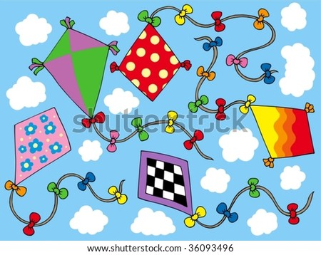 Various kites flying on sky - vector illustration.