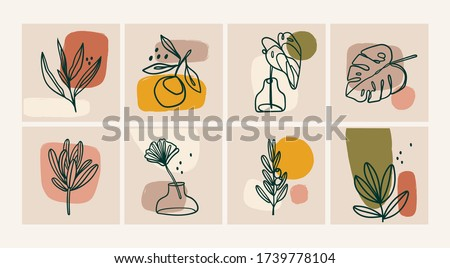Various Leaves and Flowers, abstract shapes. Ink painting style. Contemporary Hand drawn Vector illustrations. Continuous line, minimalistic elegant concept. All elements are isolated