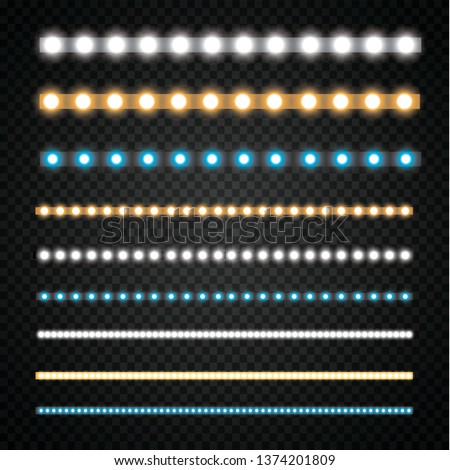 Various LED stripes on a black and transparent background, glowing LED garlands. Сток-фото ©