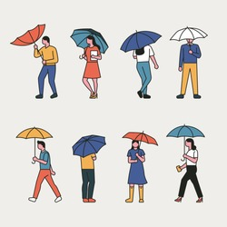 Various line style characters holding an umbrella. flat design style vector graphic illustration set