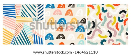 Various lines and shapes. Rainbow shapes, curves, arcs. Set of three colorful abstract seamless patterns. Hand drawn vector illustrations. Every pattern is isolated