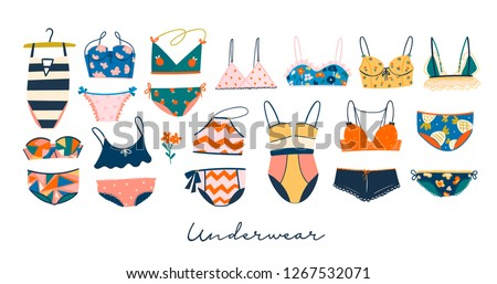 Various lingerie and swimsuits. Hand drawn big colored vector set. All elements are isolated
