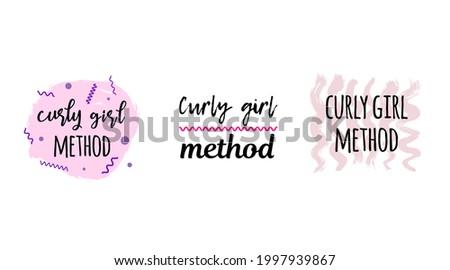 various logo options - curly girl method  Foto stock ©