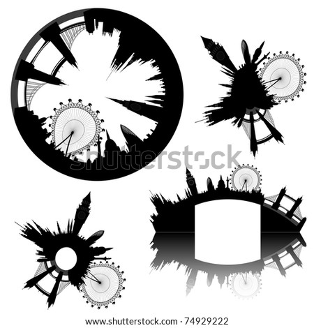various London skyline - Big Ben, London Eye, Tower Bridge, Westminster - vector
