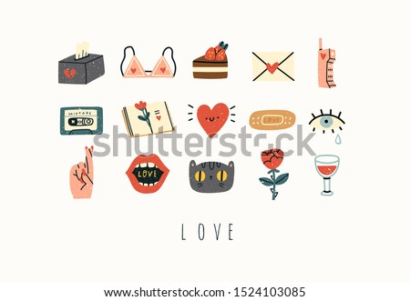 Various love, romance, affair, relationship theme icons and logos. Cute hand drawn trendy vector illustrations. Cartoon style. Flat design. Naive art. All elements are isolated