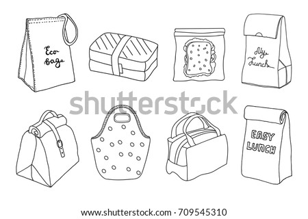 Various lunch boxes and lunch bags set. Eco bag, sandwich box, easy lunch. Hand drawn artistic sketch illustration.