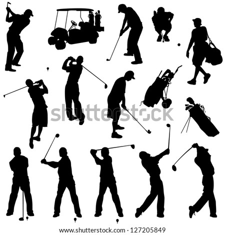various male golf poses in
