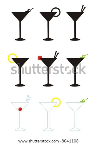 various martini glasses