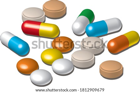 Various medicine capsules and tablets Photo stock ©