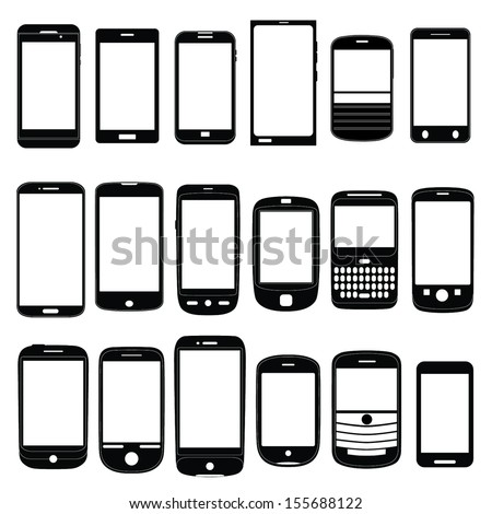 Various Mobile Phone Icons Set as Vectors