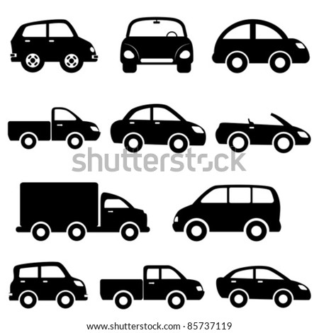 Car Vector Icon Various models cars and trucks