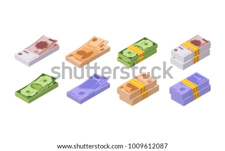 Various monetary currencies, in form of cash, paper bills. Piles of money. Packed dollars, euros. Flying banknotes. Big stacked pile of cash. Methods of payment, money turnover. Vector illustration.