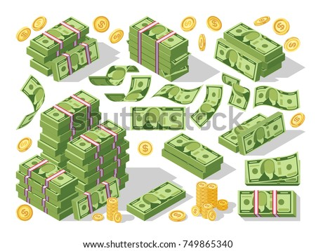 Various money bills dollar cash paper bank notes and gold coins vector set. Money cash heap, pile and stack money illustration