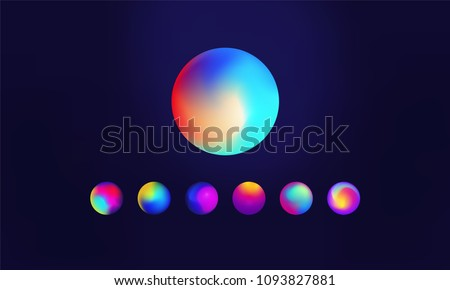 Various multicoloured gradients sphere with vibrant color palettes and irregular shapes with blur and distortion effects. Vector eps10.