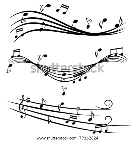 Various music notes on stave - stock vector