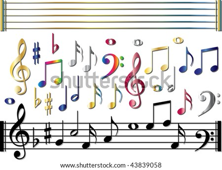 Various music notes set