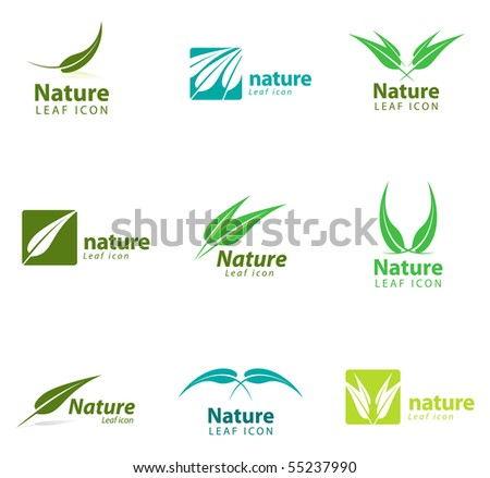 Various nature and leaf icon templates for you designs. - stock vector