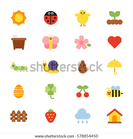 various nature icon sun insect