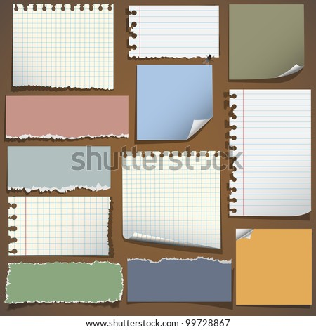 Various notes paper.Vector set eps10