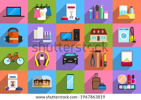 Various objects as potential purchases. Concept of purchasing power, consumerism, sale and buying of goods, shopping