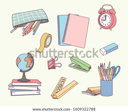Various office supplies on the desk. hand drawn style vector design illustrations.  stock photo