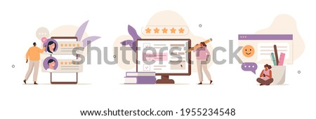 Various Online Survey and Rating Icons. Characters Filling Survey Form,  giving Five Star Feedback and Writing Comments. User Experiences Concept. Flat Cartoon Vector Illustration.