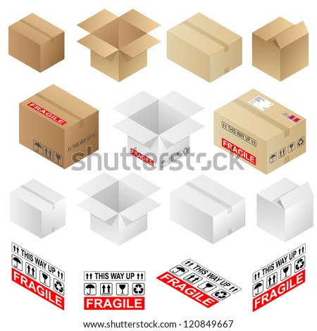 Various open and closed shipping cardboard boxes and warning marks