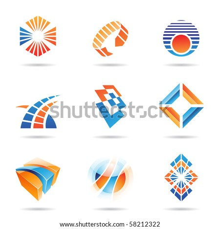 Various orange and blue abstract icons isolated on a white background