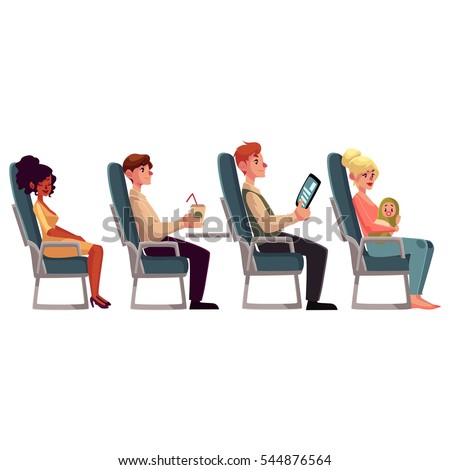 Various passengers, man and women in airplane seats, cartoon vector illustration on white background. Airplane seats occupied by men, drinking and reading, and women, sleeping and lulling a baby