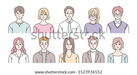 Various people character. ID photo concept bust shot. hand drawn style vector design illustrations.